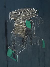 """Brigitte Mahlknecht: """"Schachtelung"""", 2012 - 2015, 120 x 90 cm, Oilstick, Acryl und Öl auf Leinwand Foto: Brigitte Mahlknecht, Abdruck honorarfrei"""