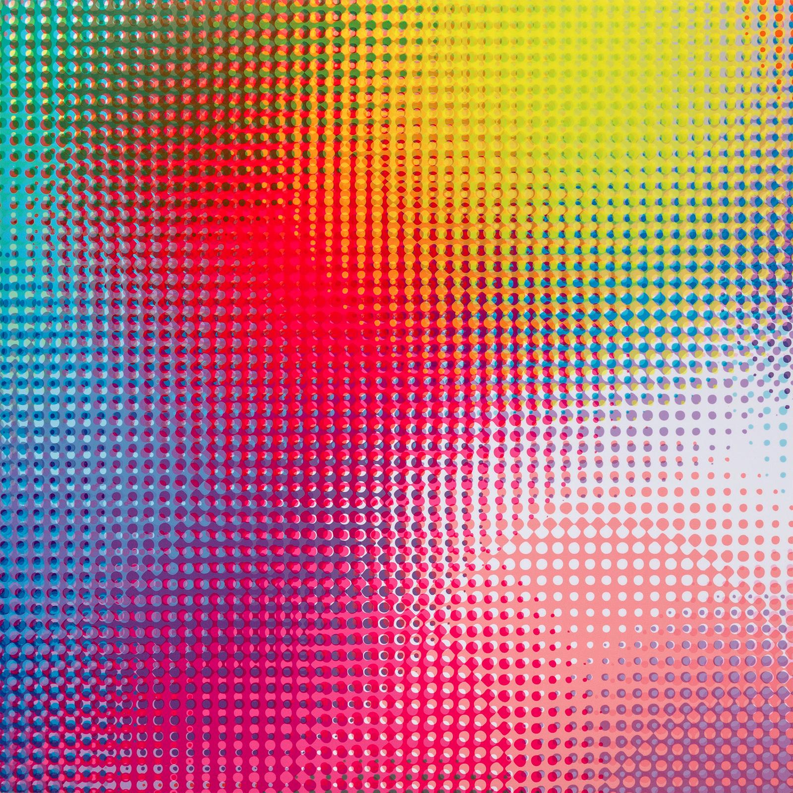MICHEL DEBULLY, Color fusionem 35, 2018, Subligraphie auf Aluminium, 50x50cm