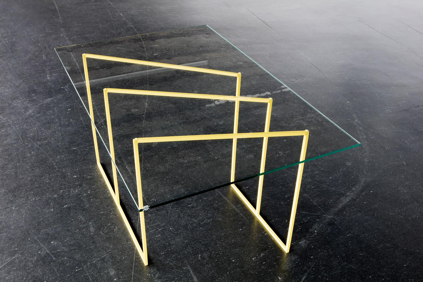 Liddy Scheffknecht, sunbeam (table), 2018, Stahl lackiert, Glas, 100 x 65 x 54 cm <br>© Liddy Scheffknecht &amp; Bildrecht Wien