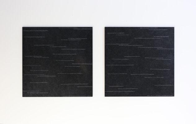 Arnold Reinthaler ,second life seit 2011 (laufend), Ritzungen in schwarzen Granit, je 40 x 40 x 1 cm @ Arnold Reinthaler, Mitglied bei >Bildrecht<