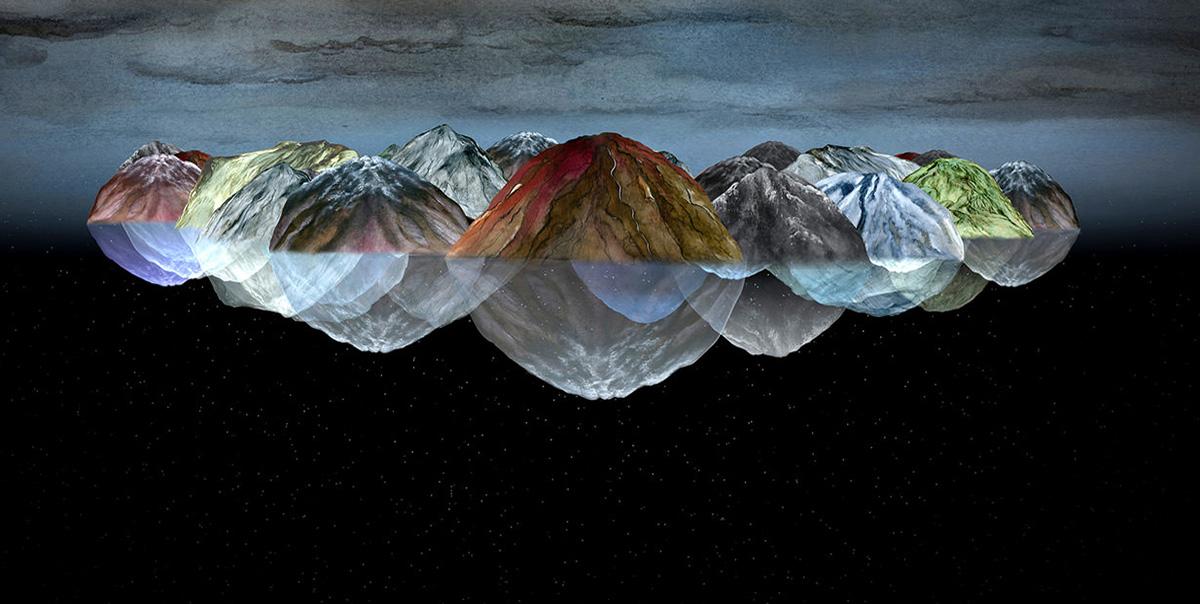gezeichnete Fantasielandschaft mit sich spiegelnden Bergkuppen auf dem Meer